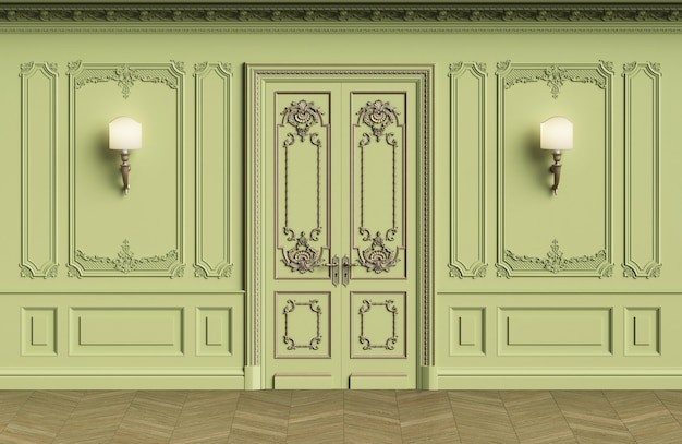 Classic interior walls with copy space