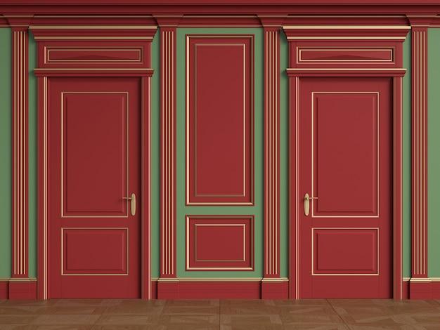 ドア付きのクラシックな内壁