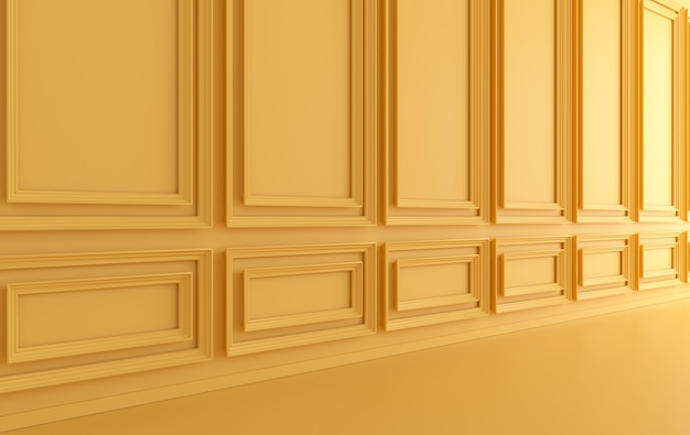 Classic interior walls with ornated mouldings panels and wooden floor, classic cornice