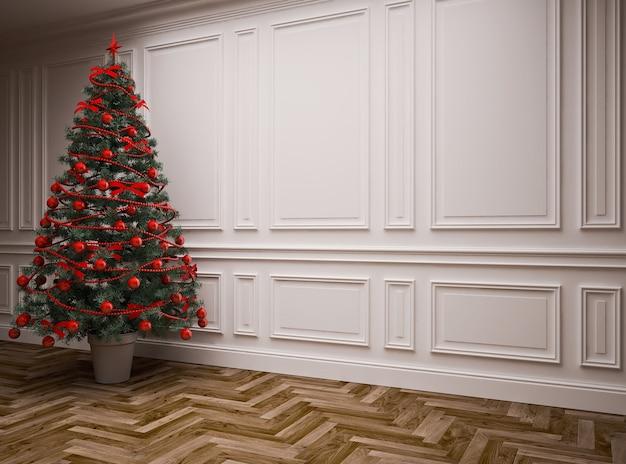 크리스마스 트리가있는 클래식 인테리어