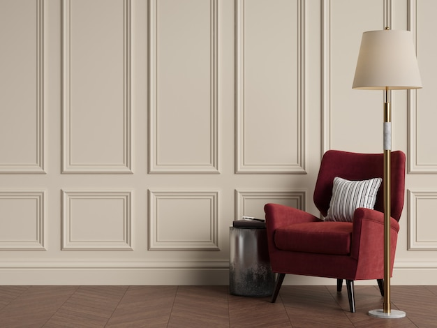 Classic interior with armchair and floor lamp. warm colors