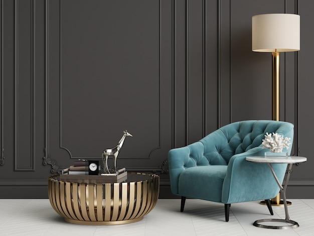 Классический интерьер с голубыми креслами и торшером