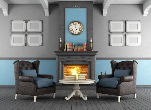 Classic interior with fireplace