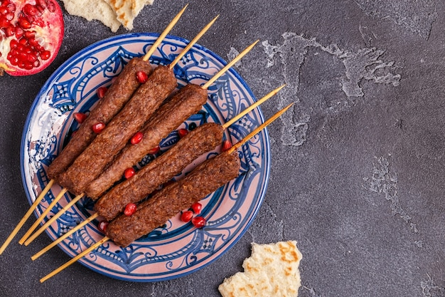 Classic kebabs on the plate.