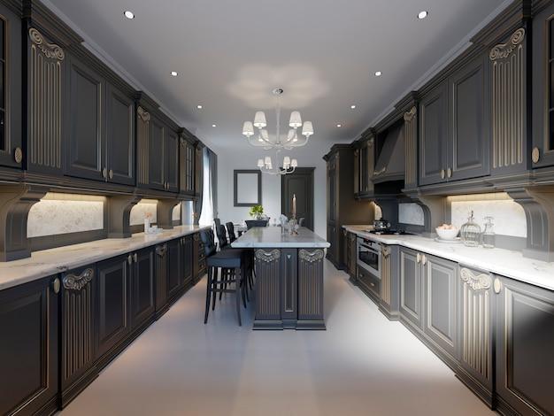 クラシックなキッチン、木製のディテールを備えたモダンなミニマルなインテリアデザイン、3dレンダリング