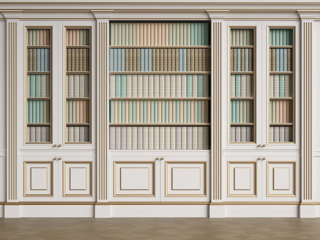 Classic library cabinet 3d rendering