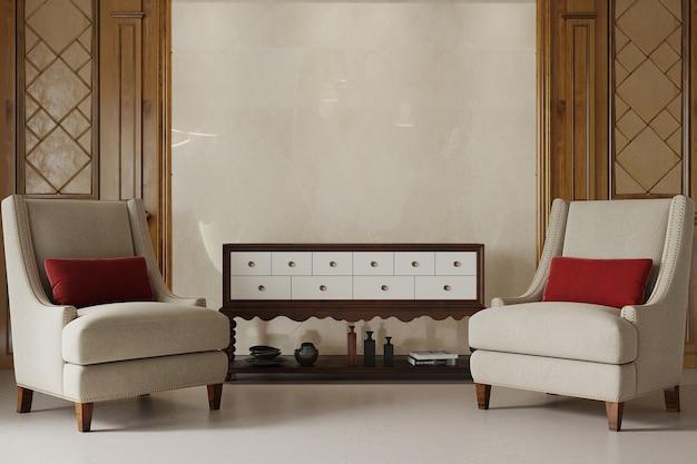 アームチェアと赤い枕のあるクラシックなリビングルームのインテリア