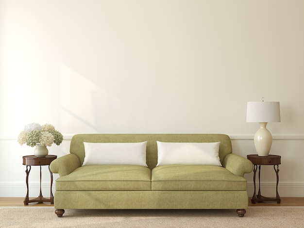 Classic living-room interior with green couch near empty beige wall. 3d render.
