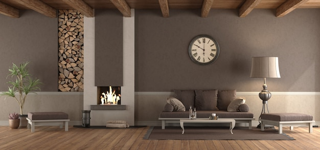 Classic living room with sofa and fireplace