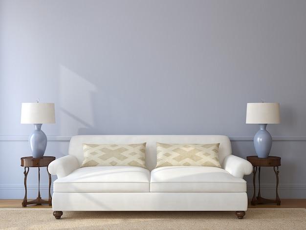 Интерьер классической гостиной с белым диваном у пустой серой стены