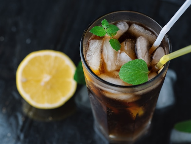 Classic long island iced tea, cocktails with strong drinks . vodka,gin, rum, tequila and lemon juice with cola and ice