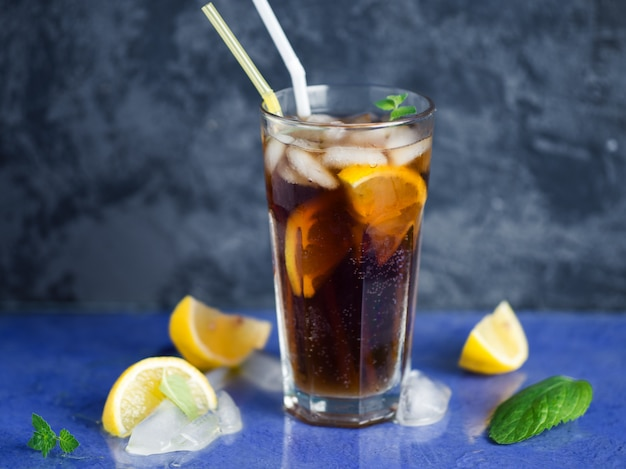Classic long island iced tea, cocktails with strong drinks .