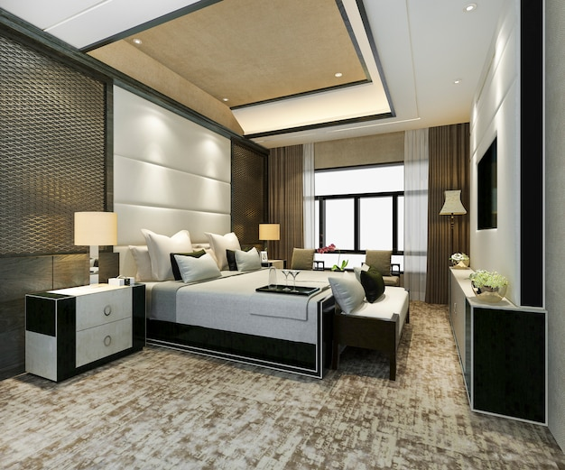 Classic luxury bedroom suite in hotel with tv