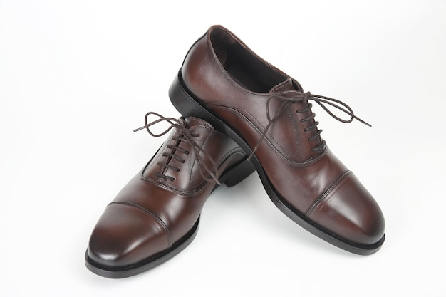 Classic men's brown oxford shoes on white. leather shoes