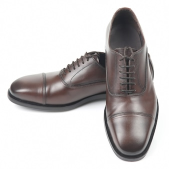 Classic men's brown shoes on white. leather modern shoes