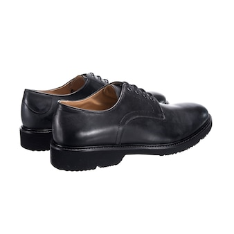 Classic men's shoes with glossy leather with laces isolated on a white surface, shoe accessory
