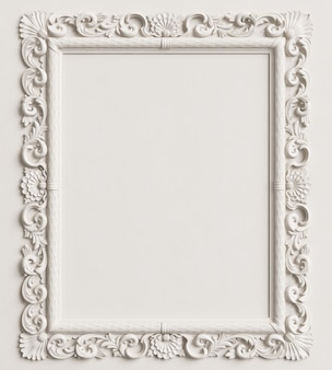 Classic mirror frame on the white wall. 3d rendering