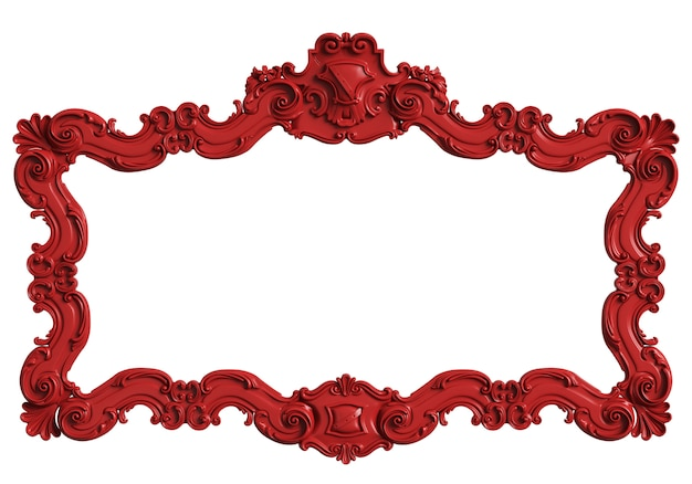 Classic mirror framered color isolated.  3d rendering