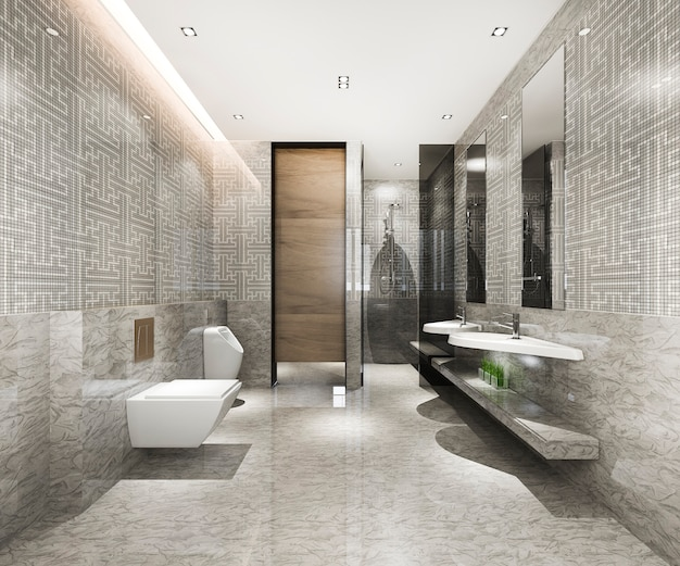 Классическая современная ванная комната с роскошным декором из плитки