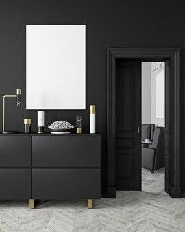 꽃병, 옷장, consoe, 문, 램프, 프레임, 나무 바닥이있는 고전적이고 현대적인 스칸디나비아 스타일의 검은 색 인테리어. 3d 렌더링 그림입니다.
