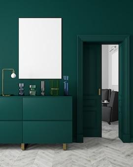 꽃병, 옷장, consoe, 문, 램프, 프레임, 나무 바닥이있는 클래식하고 현대적인 스칸디나비아 스타일의 진한 녹색 인테리어. 3d 렌더링 그림입니다.