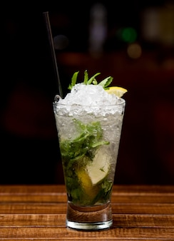 Classic mojito with mint leaves