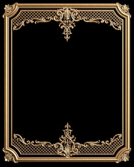 Classic moulding frame with ornament decor for classic interior isolated on black background