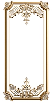 Classic moulding golden frame with ornament decor for classic interior isolated