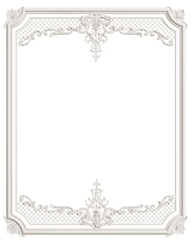 Classic moulding white frame with ornament decor for classic interior isolated