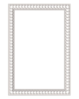Classic moulding white frame with ornament decor isolated