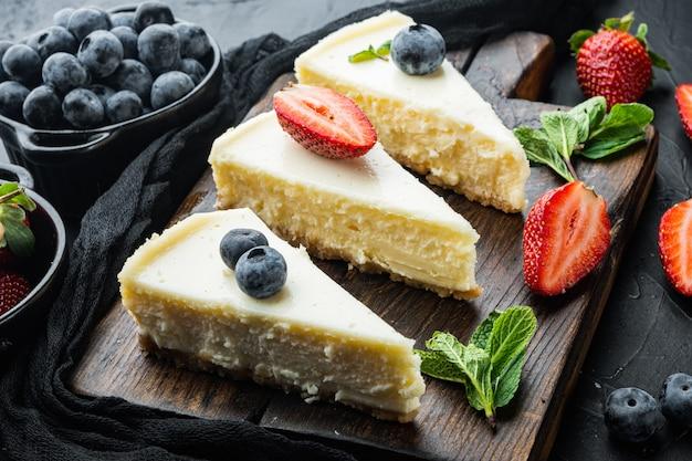 클래식 뉴욕 치즈 케이크, 슬라이스, 블랙