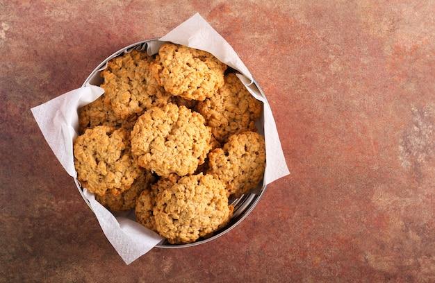 Classic oatmeal cookies in a tin