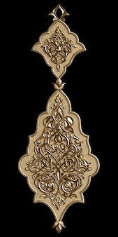Classic oriental decor with ornament  on black wall