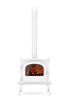 Классическая домашняя печь-камин ðžpen с дымоходом и дровами, горящими в красном пламени в глиняном стиле на белом фоне. 3d рендеринг