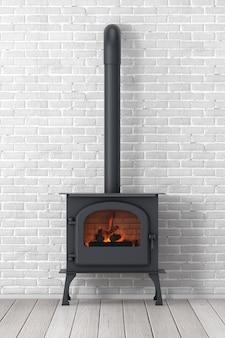 Классическая печь-камин рžpen home с дымоходом и дровами, горящими красным пламенем перед кирпичной стеной. 3d рендеринг