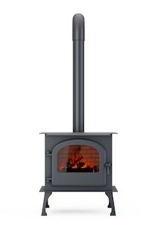 Классическая печь-камин ðžpen для дома с дымоходом и дровами, горящими в красном пламени на белом фоне. 3d рендеринг