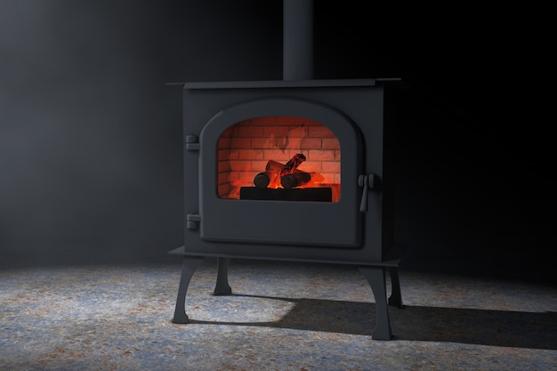 Классическая домашняя печь-камин рžpen с дымоходом и дровами, горящими красным пламенем в объемном свете на черном фоне. 3d рендеринг