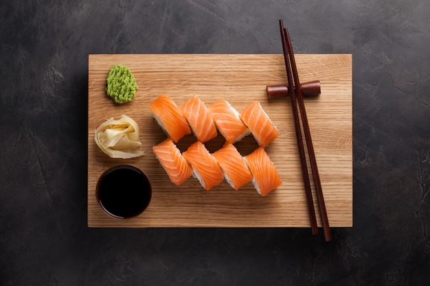 A classic philadelphia roll with wasabi.