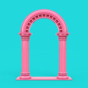 파란색 배경에 이중톤 스타일의 클래식 핑크 고대 그리스 기둥 호. 3d 렌더링