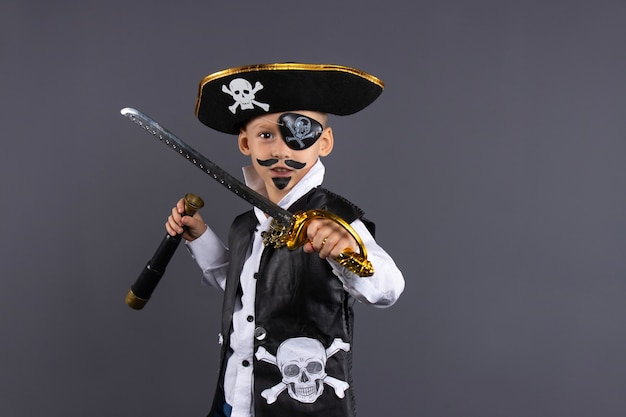 Classic pirate captain with painted face, sword and telescope.