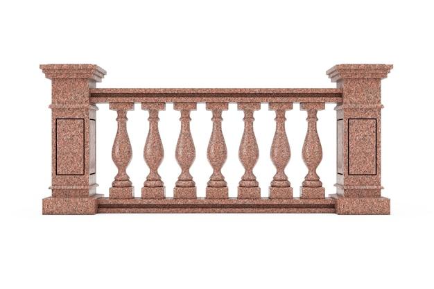 白い背景の上の列と古典的な赤い大理石の柱手すり子。 3dレンダリング