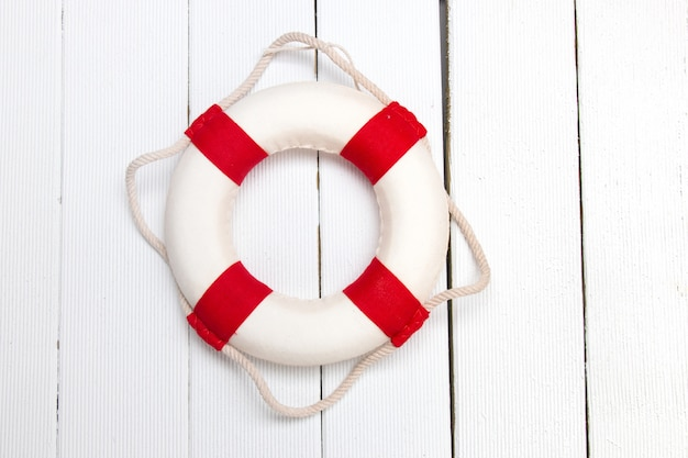 Classic red and white lifeguard buoy
