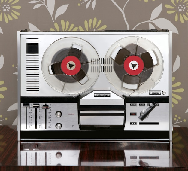 Classic retro reel to reel open vintage music