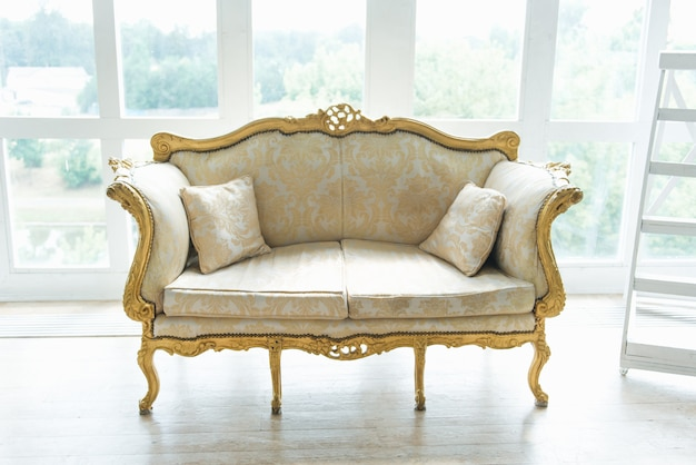 Classic retro sofa with gold inserts stands on the background of the window, interior design
