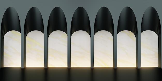 Классическая сцена в стиле ретро с 3d-иллюстрацией стенда для продуктов