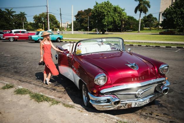 Classic retro vintage car in old havana cuba