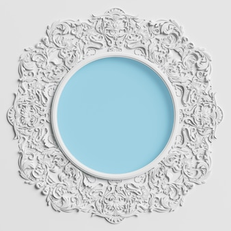 Classic round frame with ornament decor and blue circle in center on the white wall