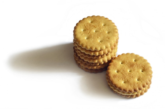 Classic round salted crackers isolated