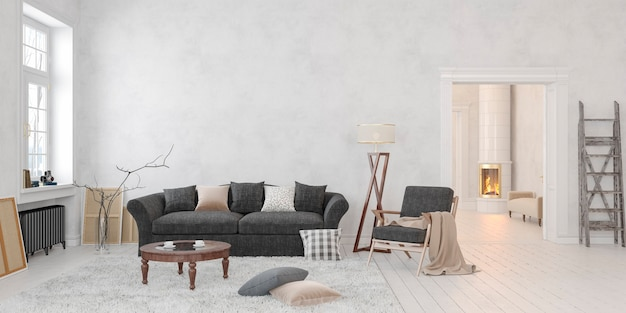 Classic scandinavian white interior with fireplace sofa table 3d render mockup