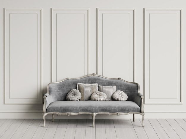 Classic sofa  in classic interior with copy space.white walls with mouldings. floor parquet